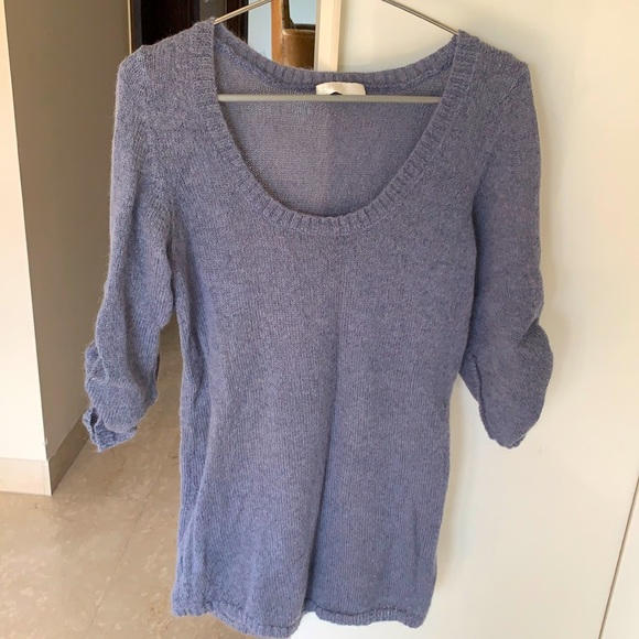 Promod Size M light blue low round neck jumper with 3/4 sleeves.